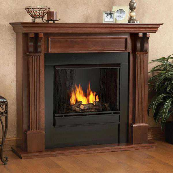 Real Flame Ashley Indoor Gel Fireplace in Mahogany 45.5Hx48Wx14D