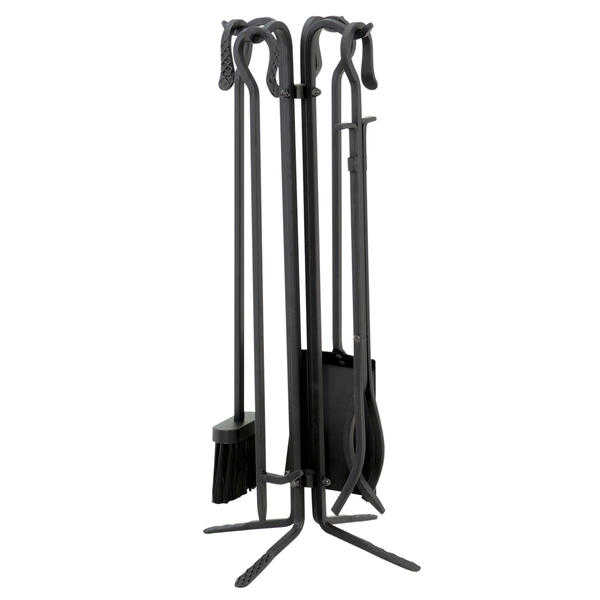 UniFlame 5 Pc Black Wrought Iron Fireset W/ Crook Handles